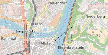Karte Koblenz.Reisemobilstellplätze Am Knaus Campingpark Rhein Mosel Koblenz
